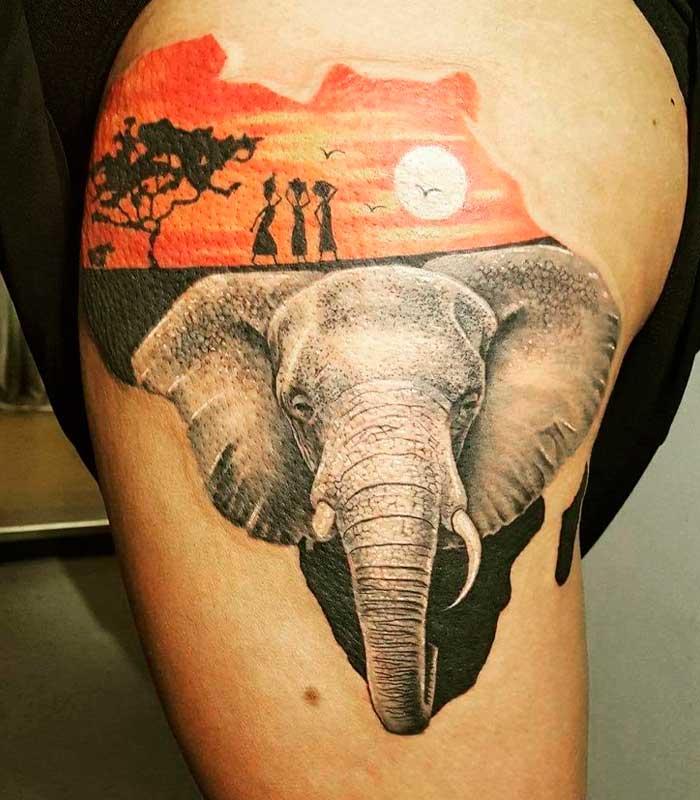 tatuajes de elefantes africanos