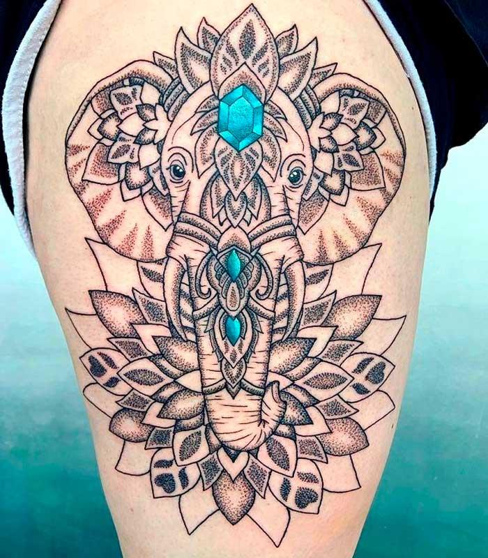 tatuajes de elefantes mandalas