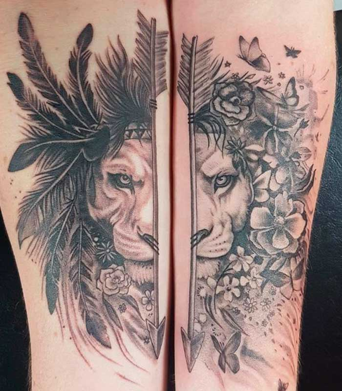 tatuajes de leones para parejas