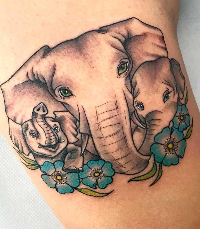tatuajes de elefantes familia