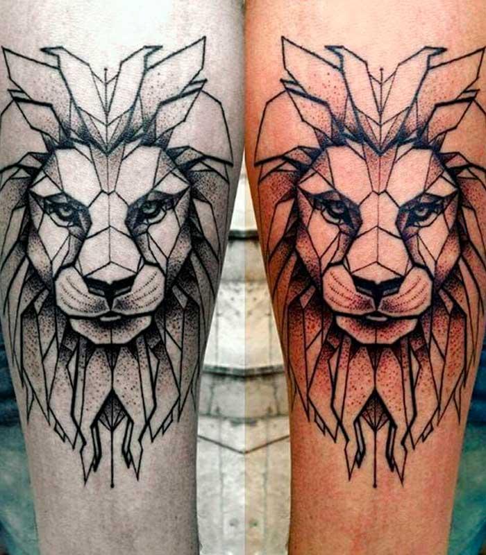 tatuajes de leones geométricos