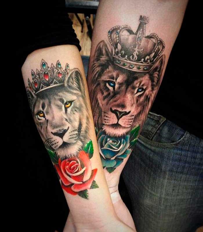 tatuajes de leones para novios