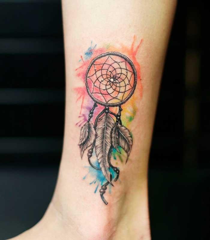 tatuajes de atrapasueños acuarela