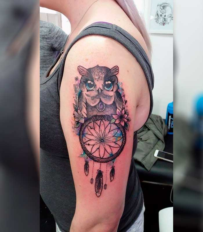 tatuajes de atrapasueños con búhos