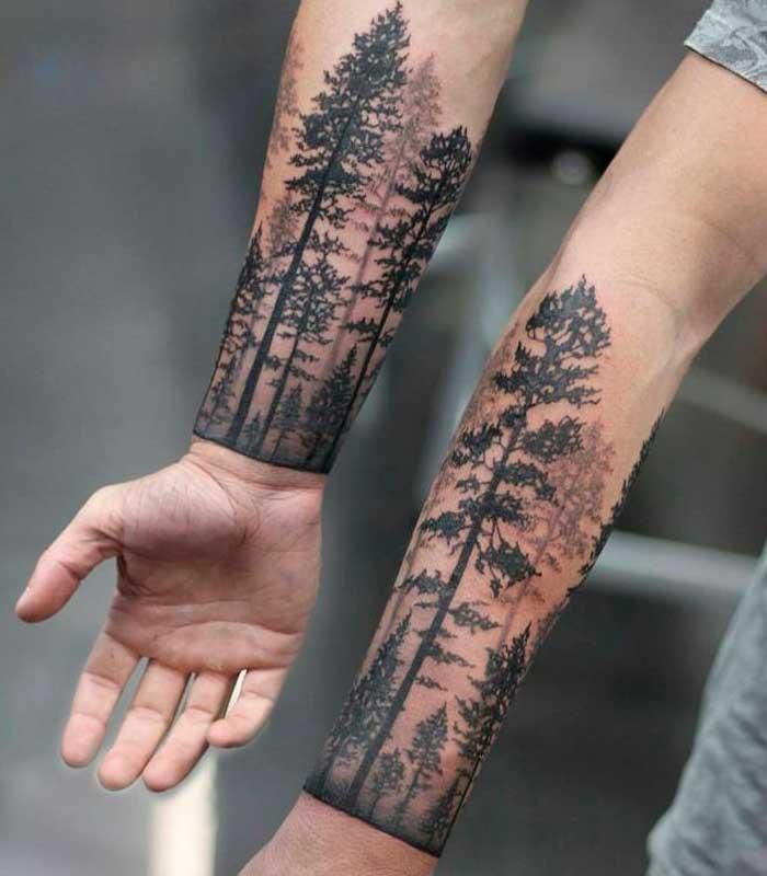 tatuajes de arboles en los brazos