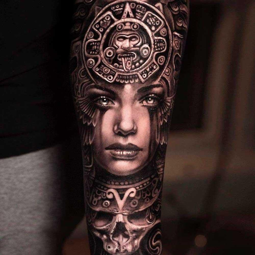 【Tatuajes Aztecas】 𓀘 Significado, símbolos + 100 imágenes ✅